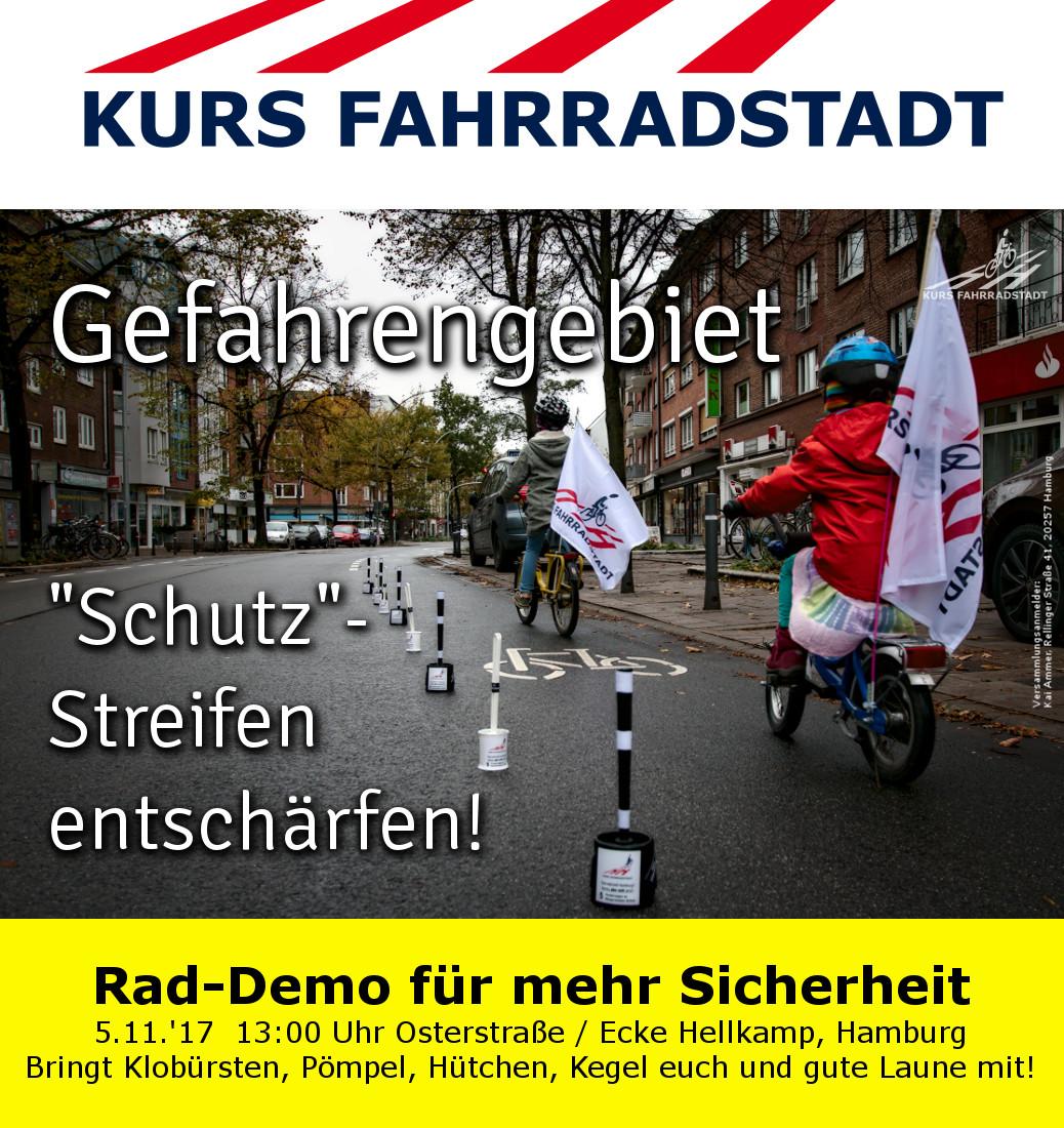 """Rad DEMO am 5.11.2017  """"Gefahrengebiet Schutzstreifen entschärfen"""""""