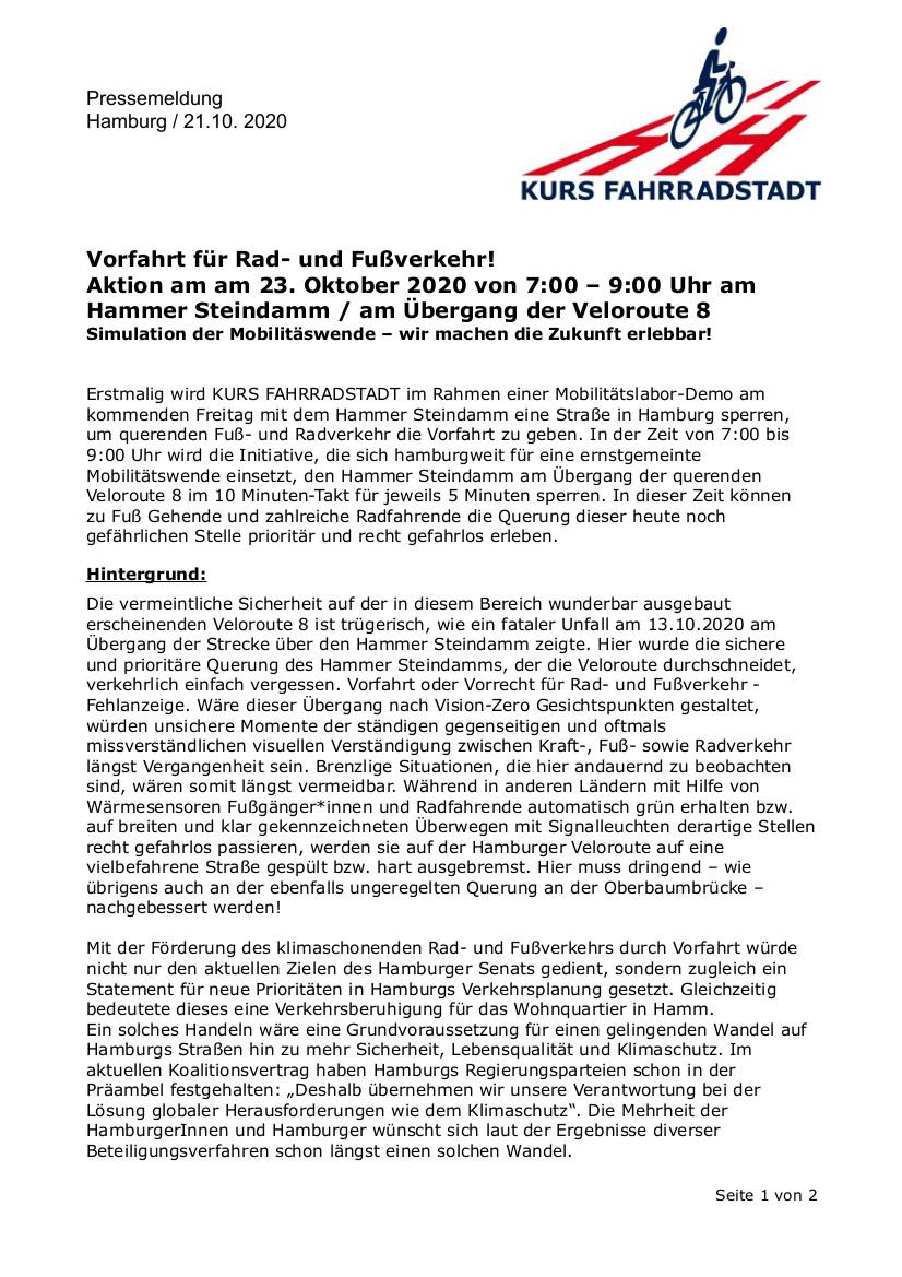 KURS-FAHRRADSTADT-Pressemeldung-Aktion-Vorfahrt-Fahrrad-Hammer-Steindamm-2020-10-23_mini